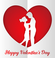 Romantic couple inside paper heart vector image vector image