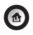 round blackwhite button-house with equalizer icon vector image vector image