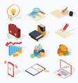 set isometric business icons vector image vector image