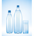 set of water bottles with water drops vector image