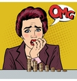 Stressed Woman with her Last Savings Pop Art vector image