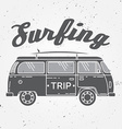 Surf trip concept Summer surfing retro badge Beach vector image vector image