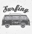Surf trip concept Summer surfing retro badge Beach vector image