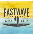 surfing logo label or badge on hand drawn vector image