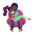 sweet loving black african american couple sitting vector image