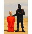 Terrorist executioner and his victim vector image