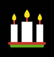 three candle merry christmas icon set flat design vector image