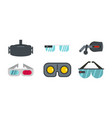 vr glasses icon set flat style vector image vector image