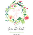 Watercolor save the date flowers vector image vector image