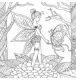 fairy with butterfly vector image