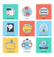 Flat Color Line Design Concepts Icons 20 vector image