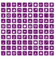 100 space icons set grunge purple vector image vector image