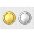 3d realistic blank golden and silver metal vector image vector image