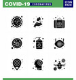 9 solid glyph black coronavirus covid19 icon pack vector image vector image