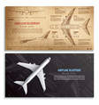 airplane blueprint horizontal banners vector image