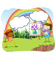 Artists painting on canvas in the park vector image