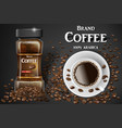 black instant coffee cup top view and beans ads vector image vector image