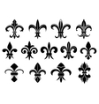 Black royal fleur de lis flowers set vector image vector image
