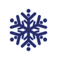 blue rounded snowflake silhouette template icon vector image