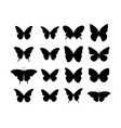 butterfly black icons collection black vector image vector image