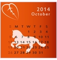 calendar 2014 october vector image vector image