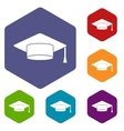Cap student icons set vector image vector image