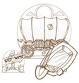 cartage carriage cowboy outline drawing for vector image vector image
