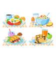 cartoon breakfast healthy delish breakfast menu vector image vector image