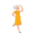 cartoon dancing older woman female in yellow vector image vector image
