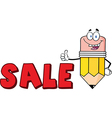 cartoon sale pencil vector image vector image