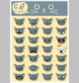 Cat emoji icons 5 vector image