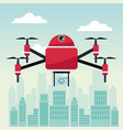 city landscape scene with drone with four airscrew vector image vector image