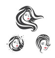 collection beauty woman face and hair vector image