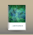 cover of diary or notebook emerald green polygonal vector image vector image