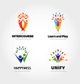 creative people partner logo design set vector image