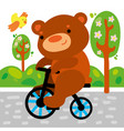 cute bear on bicycle kid graphic