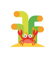 cute crab sealife character vector image vector image