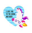 cute greeting card with unicorn template vector image vector image