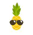 cute pineapple with sunglasses vector image vector image