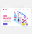 data analysis landing page template vector image vector image