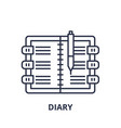 diary line icon concept diary linear vector image vector image