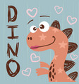 dino little princess - cute characters vector image vector image