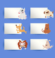 dogs and cards cartoon design elements set vector image