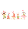 easter images children with painted eggs vector image vector image