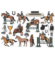 equestrian sport icons horse riding set vector image vector image