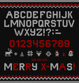 folk christmas font scandinavian knitted vector image vector image