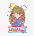 girl read book with sun and clouds vector image