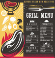 grill menu print template design vector image