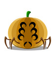 halloween pumpkin with a spider shape vector image vector image