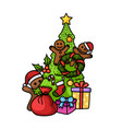 hand drawn happy new year and merry christmas vector image vector image